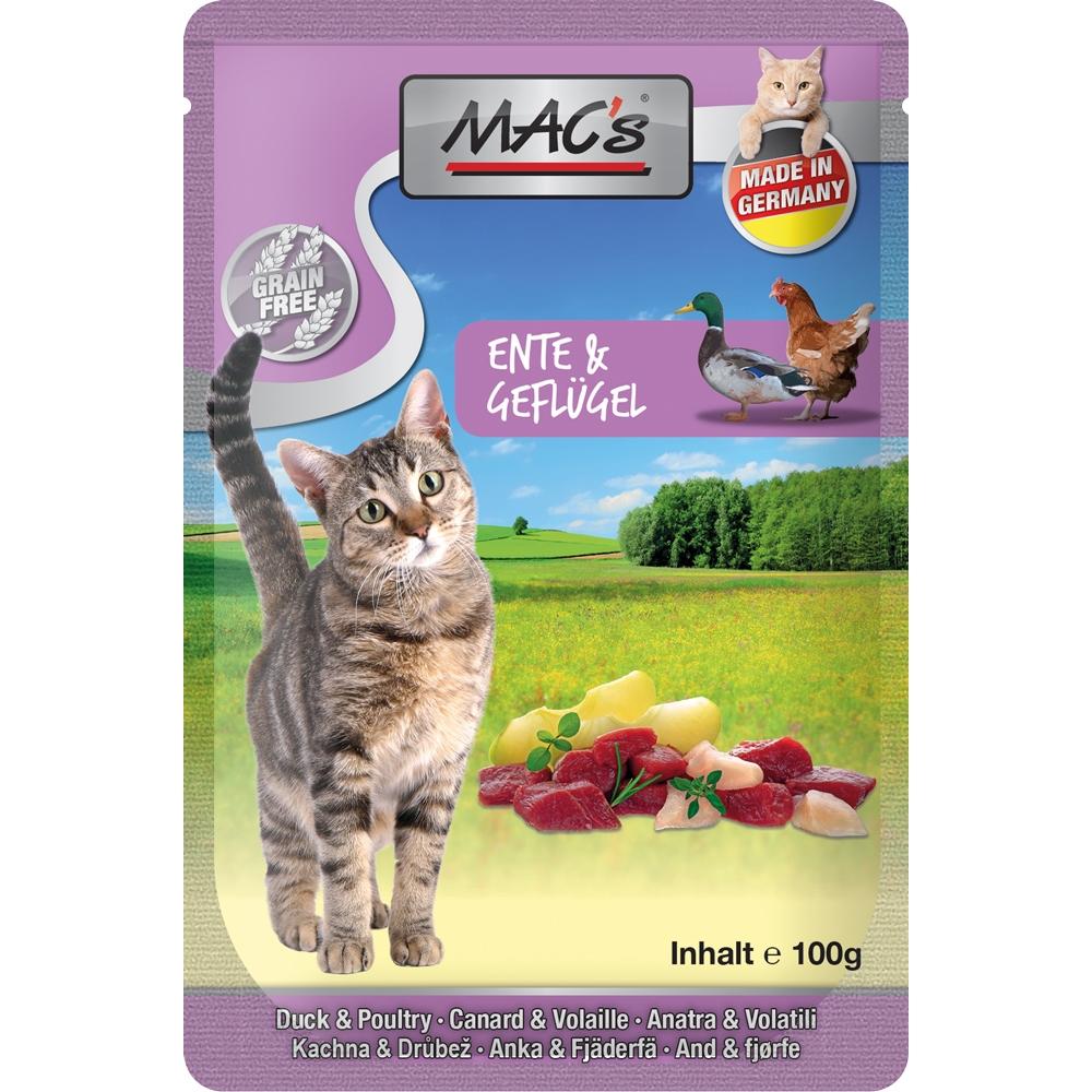 Mac's Cat Pouchpack Ente, Geflügel & Apfel 100g