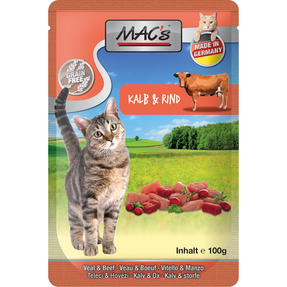 Mac's Cat Pouchpack Kalb, Rind & Cranberry 100g