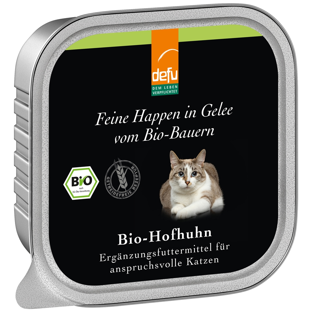Defu Cat Feine Happen in Gelee Bio-Hofhuhn 100g
