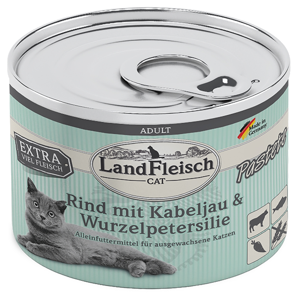 LandFleisch Cat Pastete Rind, Kabeljau & Wurzelpetersilie