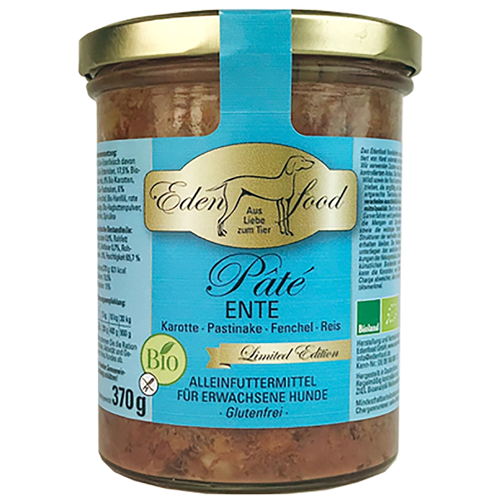 Edenfood Dog Bio-Menü Pâté Limited Edition Ente, Karotte & Pastinake 370g