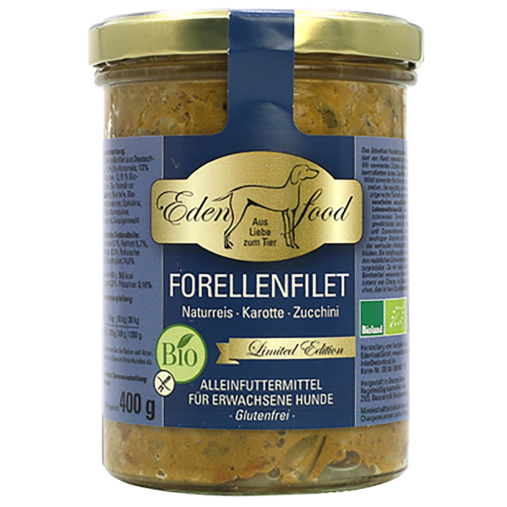 Edenfood Dog Limited Edition Bio-Forellenfilet, Naturreis & Karotte 400g