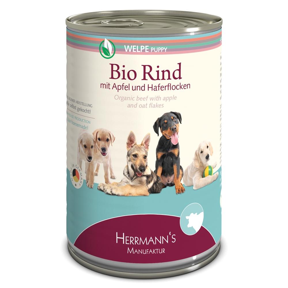 Herrmann's Dog Selection Welpe Bio-Rind mit Apfel & Haferflocken 400g