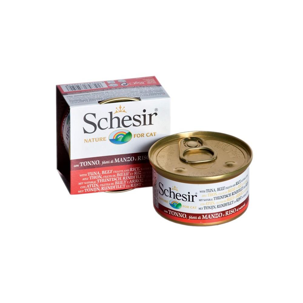 Schesir Cat Natural Thunfisch, Rinderfilet & Reis 85 g