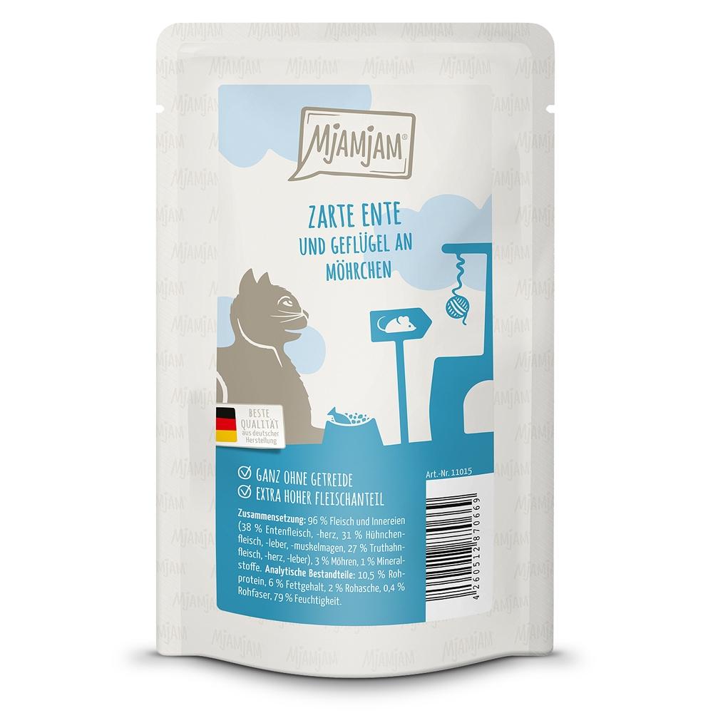 MjAMjAM Cat Quetschie Zarte Ente & Geflügel an leckeren Möhrchen 125g